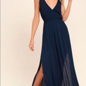 Lulus Lost in Paradise Navy Maxi Dress